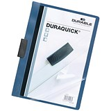 Image of Durable Duraquick Clip Folders / PVC / Clear Front / A4 / Blue / Pack of 20