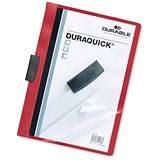 Image of Durable Duraquick Clip Folders / PVC / Clear Front / A4 / Red / Pack of 20