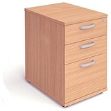 Image of Trexus Desk-High Filing Pedestal / 600mm Deep / 3-Drawer / Beech