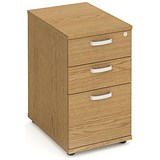 Image of Trexus Desk-High Filing Pedestal / 600mm Deep / 3-Drawer / Oak