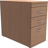 Image of Trexus Desk-High Filing Pedestal / 800mm Deep / 3-Drawer / Beech