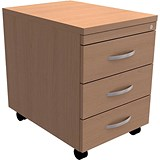 Image of Trexus 3-Drawer Mobile Pedestal - Beech