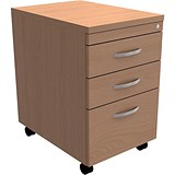 Image of Trexus Tall Under-desk Mobile Filing Pedestal / 3-Drawer / Beech