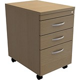 Image of Trexus Tall Under-desk Mobile Filing Pedestal / 3-Drawer / Oak