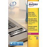 Image of Avery Heavy Duty Laser Labels / 189 per Sheet / 25.4x10mm / Silver / L6008-20 / 3780 Labels