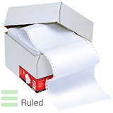 5 Star Computer Listing Paper / 1 Part / 11 inch x 389mm / White & Green / Ruled / Box (2000 Sheets)