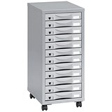 Pierre Henry Steel Multi-Drawer Storage Cabinet / 12 Drawers / Silver & Grey