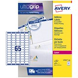 Avery Laser Mini Labels / 65 per Sheet / 38.1x21.2mm / White / L7651-100 / 6500 Labels