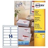Image of Avery Quick DRY Inkjet Addressing Labels / 14 per Sheet / 99.1x38.1mm / White / J8163-100 / 1400 Labels