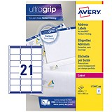 Avery Jam-free Laser Addressing Labels / 21 per Sheet / 63.5x38.1mm / White / L7160-500 / 10500 Labels