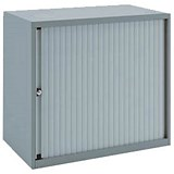 Image of Bisley Low A4 EuroTambour / 1 Shelf / Silver Frame / Silver Shutters