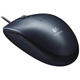 Image of Logitech M100 Mouse / USB / Wired / Optical / 1000dpi / 3-Button / Dark