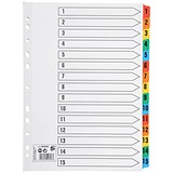 Image of 5 Star Index Card with Coloured Mylar Tabs / 1-15 / A4 / White
