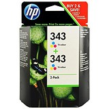 Image of HP 343 Colour Ink Cartridge (Twin Pack)