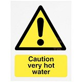 Stewart Superior Caution Very Hot Water Signs W75xH50mm Self-adhesive Vinyl [Pack 5]