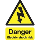 Stewart Superior Danger Electric Shock Risk Sign W150xH200mm Self-adhesive Vinyl