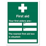 Image of Stewart Superior Sign First Aid Sign W450xH600mm Self-adhesive Vinyl Ref KS008SAV