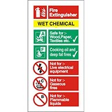 Image of Stewart Superior Sign Wet Chemical Extinguisher Fire Safety Self Adhesive Vinyl W100xH200mm Ref FF100SAV