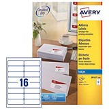 Avery Quick DRY Inkjet Addressing Labels / 16 per Sheet / 99.1x33.9mm / White / J8162-100 / 1600 Labels