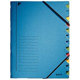 Image of Leitz A4 Colourspan Elasticated Files / 12-Part / Blue / Pack of 5