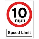Image of Stewart Superior Speed Limit Sign 10MPH for Outdoor Use Polypropylene W450xH600mm Ref KS012