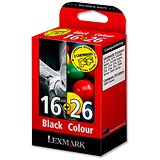 Image of Lexmark 16/26 Black and Colour Inkjet Cartridges (2 Cartridges)