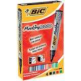 Bic Marking 2000 Permanent Marker / Bullet Tip / Assorted Colours / Pack of 4