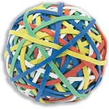Image of Rubber Band Ball of 200 Bands Natural Rubber Assorted