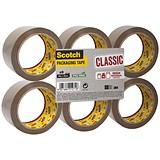 Image of Scotch Classic Packaging Tape / 50mmx66m / Buff / Pack of 6