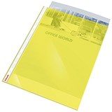 Image of Esselte Coloured Polypropylene Multipunched Pockets / Top-opening / A4 / Yellow / Pack of 10