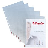 Image of Esselte Heavy-duty Polypropylene Multipunched Pockets / Top-opening / A4 / Clear / Pack of 25