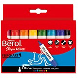 Image of Berol Flipchart Markers / Water-based / Wedge Nib / Assorted Colours / Pack of 8