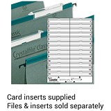 Image of Rexel CrystalFiles Classic Card Inserts for Extra-deep Linked File Tabs / White / Pack of 50