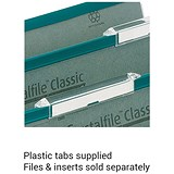 Image of Rexel CrystalFiles Classic Plastic Tabs for Extra-deep Linked Suspension Files / Clear / Pack of 50
