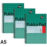 Pukka Pad Wirebound Jotta Notebook / A5 / Ruled / 200 Pages / Pack of 3