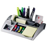 Image of Desktop Organiser Pen Pot with Weighted Base - Silver