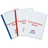 Image of GBC Thermal Binding Covers / 3mm / Front: Clear / Back: Red Leathergrain / A4 / Pack of 100