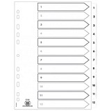 Image of Elba Dividers / Europunched / 1-12 with Clear Tabs / A4 / White