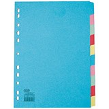 Image of Elba Card Dividers / Europunched / 10-Part / A4+ / Extra Wide Assorted