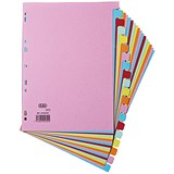 Image of Elba Card Dividers / Europunched / 20-Part / A4 / Assorted