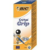 Bic Cristal Grip Ball Pen / Clear Barrel / Blue / Pack of 20