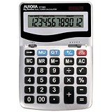 Aurora Desktop Calculator / 12 Digit / 4 Key / Battery/Solar Power / Silver
