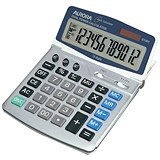 Image of Aurora Calculator Euro Desktop Battery/Solar-power 12 Digit 4 Key Memory 165x228x32mm Ref DT401