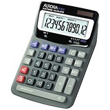 Aurora Desktop Calculator / 12 Digit / 2x3 Key / Battery/Solar Power / Black