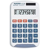 Image of Aurora Calculator Handheld Battery/Solar-power 8 Digit 3 Key Memory 50g 70x115x15mm Ref HC133