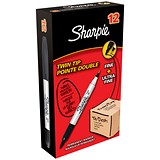 Sharpie Twin Tip Permanent Marker / Black / Pack of 12
