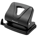 Image of Rexel Ecodesk Long-handled 2-Hole Punch / Black / Punch capacity: 20 Sheets