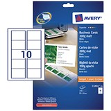 Image of Avery Quick & Clean Laser Business Cards / 85mm x 54mm / 10 per Sheet / White / 200gsm / Pack of 250