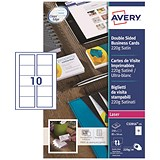 Image of Avery Quick & Clean Laser Satin Business Cards / 85mm x 54mm / 10 per Sheet / 220gsm / Pack of 250