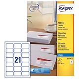 Image of Avery Quick DRY Inkjet Addressing Labels / 21 per Sheet / 63.5x38.1mm / White / J8160-25 / 525 Labels